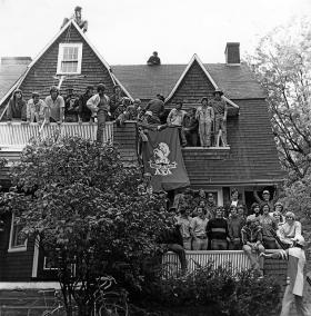 Fraternity life at Dartmouth is an institution, which some claim is a big part of the school's problem. Alpha Chi Alpha house in Hanover.