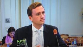 Screen cap of Matt Mowers testifying via NJTV News