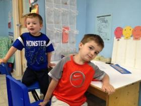 Chase Robinson and Cayden Blodgett, preschoolers, at Lyndonville, VT's Head Start Program.