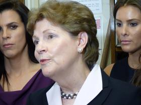 Sen. Jeanne Shaheen, flanked by her family, officially filed her candidacy in Concord.