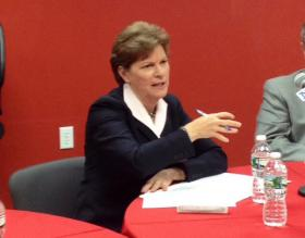 Senator Shaheen speaks at a round table discussion with New Hampshire realtors.