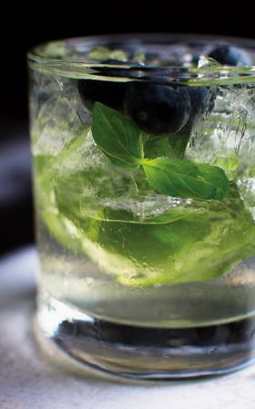 Lemons, not limes, go into the Blueberry Basil Mojito at Cotton.