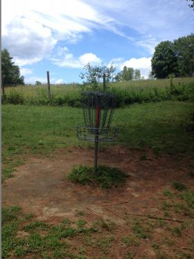 A hole at Top O' The Hill Disc Golf in Canterbury, NH.