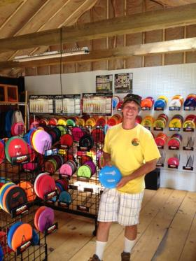 Marty Vaughn in his pro shop, the biggest in New Hampshire.