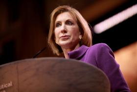 Carly Fiorina speaking at the 2014 Conservative Political Action Conference (CPAC) in National Harbor, Maryland.