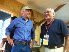 "Former state Senator Jim Rubens, left, mingles at the ""Thank a Vet"" BBQ in Holderness on Saturday. Rubens, a Republican, is running for U.S. Senate."