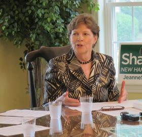 U.S. Senator Jeanne Shaheen at a campaign stop in Concord.