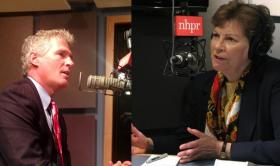 Scott Brown and Jeanne Shaheen in NHPR's studios.