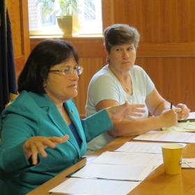 U.S. Rep Ann McLane Kuster (right) at roundtable with N.H. Sexual Assault Resource Teams Coordinator Kathy Kimball (left).
