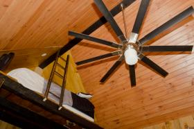The tree house's vaulted ceiling gives the space an illusion of size it doesn't actually possess.