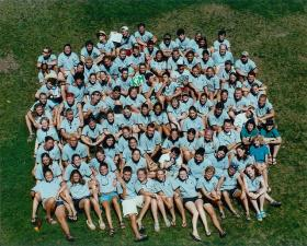 Vintage photo of Camp Coniston staff from 2001
