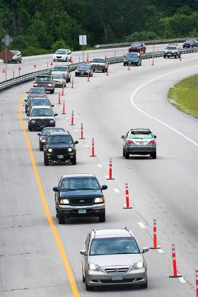 NASCAR races at Loudon Speedway lead to creative traffic management on I-93 in Concord.