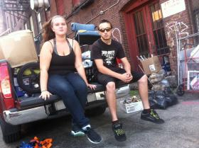 Kat Hutchins and Kenny Robbins were packing their belongings outside the Vegas Building in Concord. They were told they had to leave by 2 p.m. Friday.