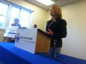 Gov. Maggie Hassan at Lamprey Community Health Center in Nashua on Monday.