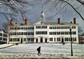 A student walks on a Dartmouth College path