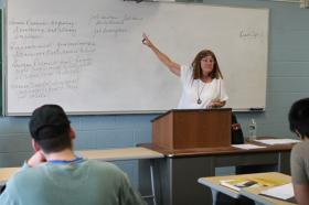 Kathleen Hoben teaches at Manchester Community College