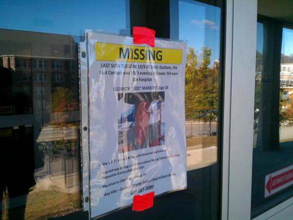 A missing poster for Lizzi Marriott at UNH