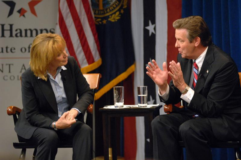Democrat for governor Maggie Hassan and Republican challenger Ovide Lamontagne debate at St. Anselm College in Manchester on Wednesday, Sept. 19, 2012.