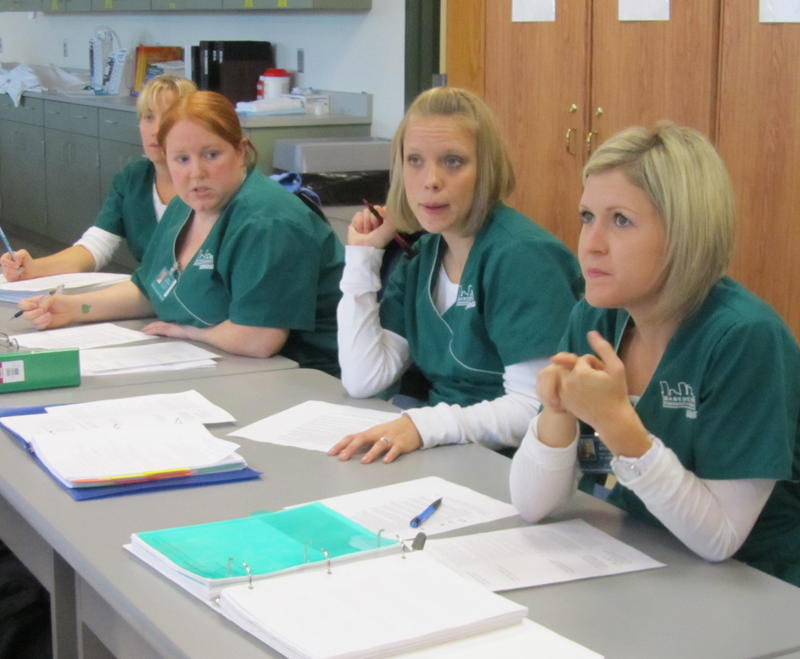 Nursing students at Manchester Community College