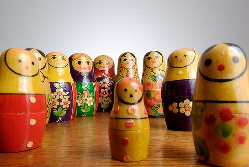 Awesome Russian dolls, all lined up