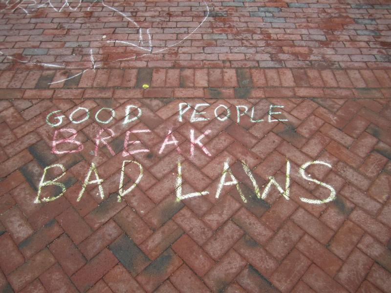 Libertarian slogans chalked on PSU's walkways