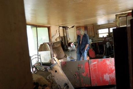 Conway Resident Dana Ferren inside his destroyed trailer