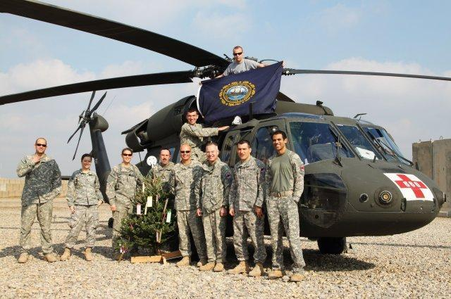 Members of the 238th Medevac during a deployment to Iraq.