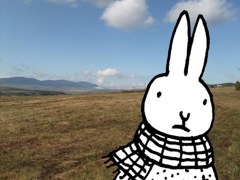 Marek Bennett's signature cartoon rabbit, with the mountains of Slovakia in the background.