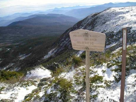 Presidential Range-Dry River Wilderness entry sign, taken from the Dry River Trail near Lakes of the Clouds, looking over Oakes Gulf and into the Dry River Valley