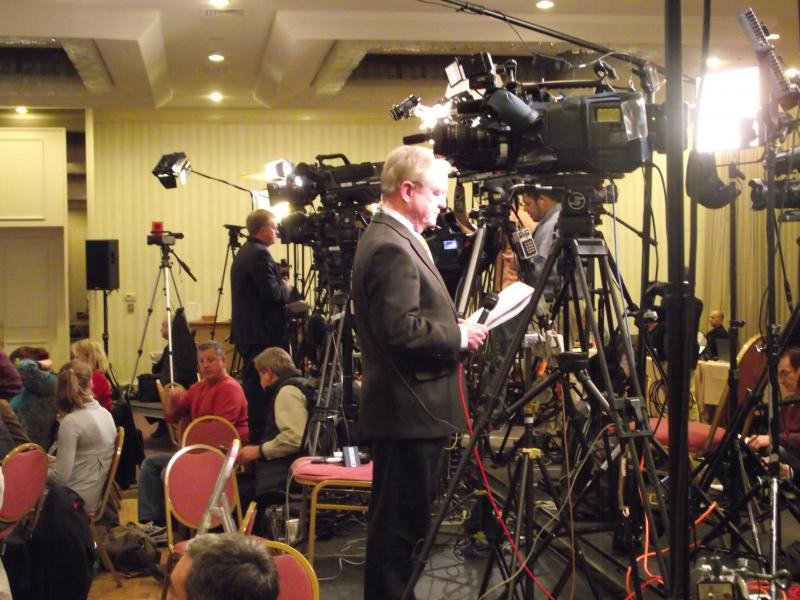 Media swarm at Camp Gingrich in Manchester.