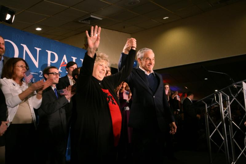 Ron Paul celebrates his second place win gathering 23 percent of the votes.