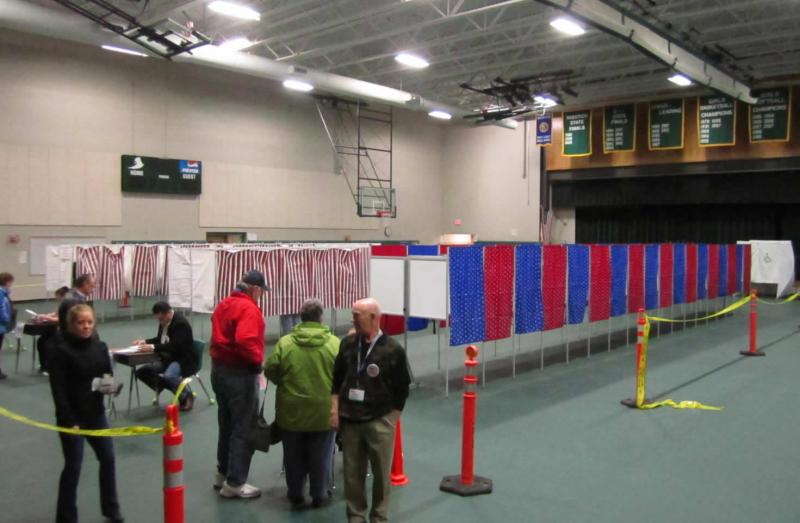 Voting gets underway at the Cawley Middle School in Hooksett, NH