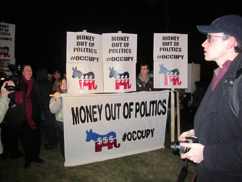Occupy New Hampshire outside Republican Presidential Debate at St. Anselm's College
