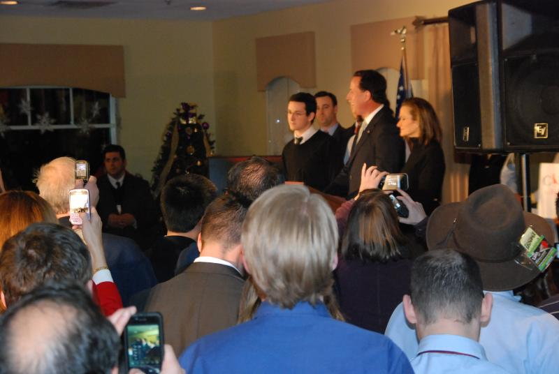 Rick Santorum addressed his supporters in Manchester at the Derryfield Country Club.