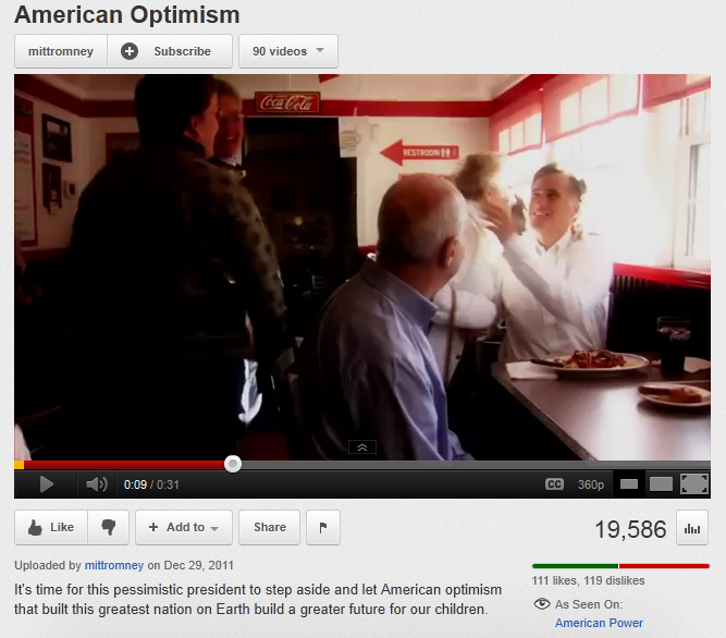"""American Optimism"" commercial ad run by the Romney campaign in New Hampshire."