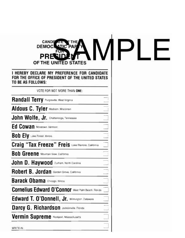 Sample Democratic Ballot