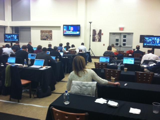 The media room at Romney HQ