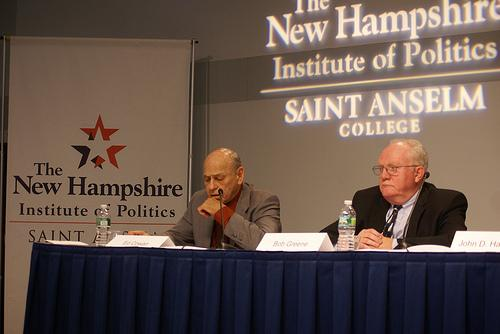 Democratic presidential candidate Ed Cowan (left) and Republican candidate Bob Greene at Saint Anselm College's  Lesser Known Presidential Candidates Forum, December 19, 2011.