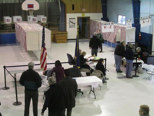 Voters at a polling place in Bow, January 10, 2012.