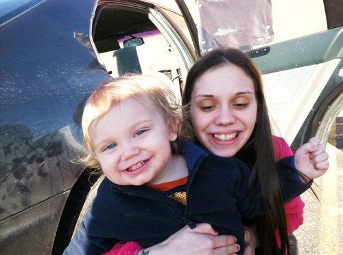 Danielle Fiore, 24, with her son