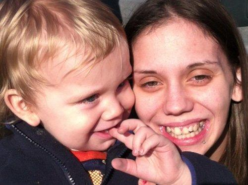 Danielle Fiore, 24, with her son