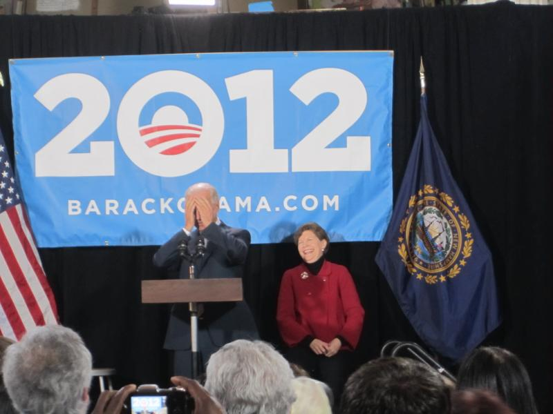 Joe Biden puts head in hands as he jokingly confesses how long he has been in Washington.