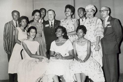 Daisy Bates and the Little Rock Nine with officers of the NAACP at their 49th annual convention. Mrs. Bates and the nine students received an award for their heroism during the school integration crisis in September, 1957.