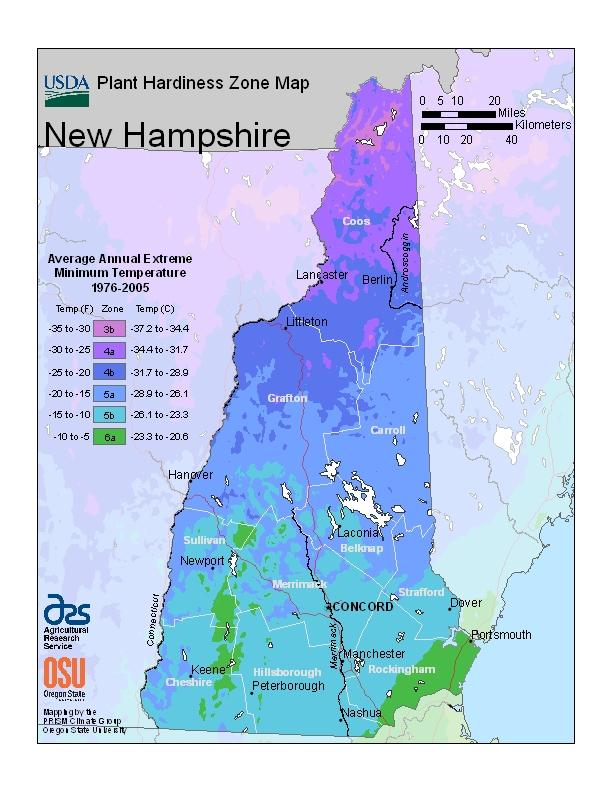 NH Plant Hardiness Map