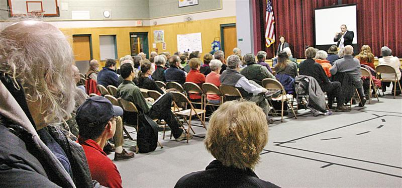 About 150 people from the North Country met with Thomas Linzey who heads up the Community Environmental Legal Defense Fund.