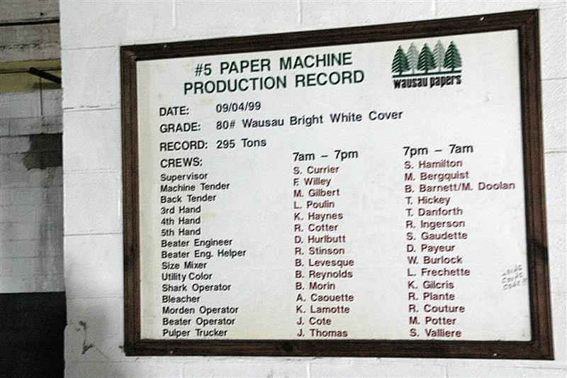 One of the few signs - literally - of more than a hundred years of making paper commemorates a record set in 1999.