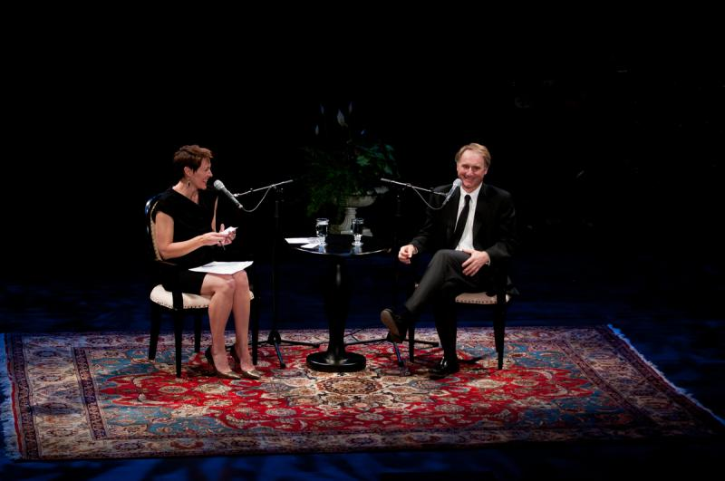 Virginia Prescott and Dan Brown, at Writers on a New England Stage
