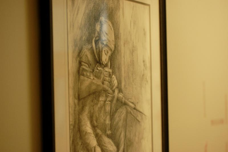 Elaine Morrison's paintings are on display at National Guard headquarters in Concord.