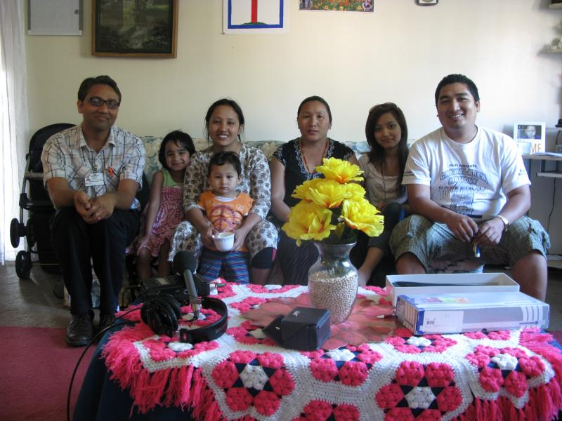 The Darjee family with Interpreter Neilharri Bhandari.