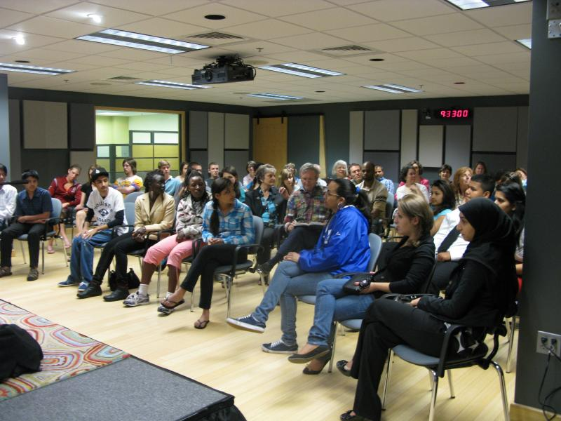 Live audience for the Socrates Exchange asking the question, Who is American?